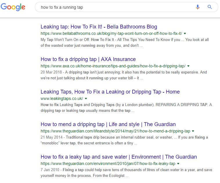 "Picture of the Search Results for ""Fix running tap"""